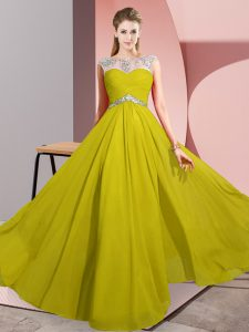 Superior Sleeveless Floor Length Beading Clasp Handle Graduation Dresses with Yellow