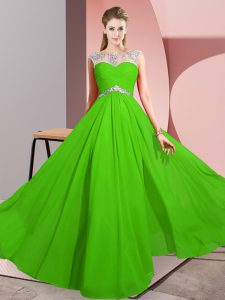 Scoop Sleeveless Graduation Dresses Floor Length Beading Green Chiffon