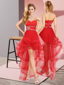 Red Sleeveless Tulle Lace Up Graduation Dresses for Prom and Party
