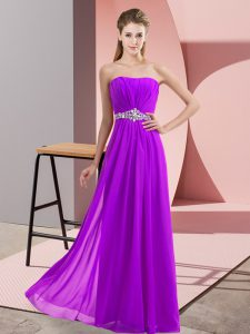 Exceptional Eggplant Purple Empire Beading Graduation Dresses Lace Up Chiffon Sleeveless Floor Length