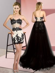 Cheap White And Black Sleeveless Tulle Sweep Train Lace Up Graduation Dresses for Prom and Party