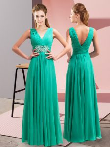 Colorful Turquoise Chiffon Side Zipper V-neck Sleeveless Floor Length Graduation Dresses Beading and Ruching