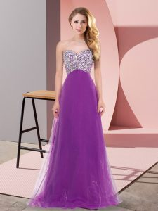 Purple Empire Tulle Sweetheart Sleeveless Beading Floor Length Lace Up Graduation Dresses