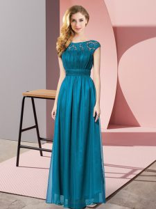 Best Teal Empire Lace Graduation Dresses Zipper Tulle Sleeveless Floor Length
