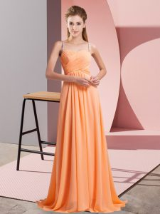 Classical Orange Red Graduation Dresses Prom and Party with Beading Spaghetti Straps Sleeveless Backless