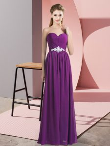Fancy Floor Length Lace Up Graduation Dresses Purple for Prom and Party with Beading