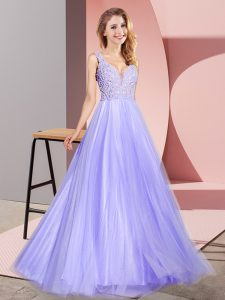 Lace Graduation Dresses Lavender Zipper Sleeveless Floor Length