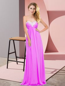 Lilac Lace Up Graduation Dresses Ruching Sleeveless Floor Length