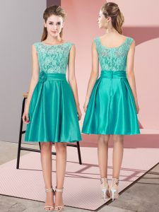 Designer Turquoise Satin Zipper Graduation Dresses Sleeveless Mini Length Lace and Hand Made Flower