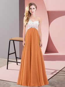 Chiffon One Shoulder Sleeveless Criss Cross Beading Graduation Dresses in Orange Red