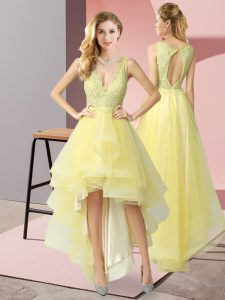 Yellow A-line Tulle V-neck Sleeveless Beading and Lace High Low Backless Graduation Dresses