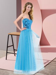 Sequins Graduation Dresses Blue Lace Up Sleeveless Floor Length