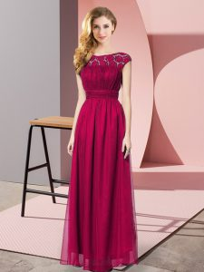 Floor Length Empire Sleeveless Fuchsia Graduation Dresses Zipper