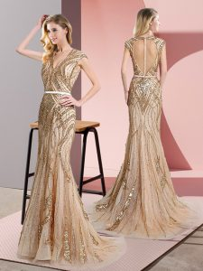 Extravagant Champagne Graduation Dresses Prom and Party with Beading and Belt V-neck Sleeveless Zipper
