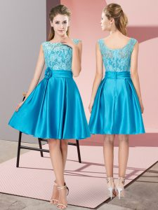 Perfect Blue Zipper Bateau Lace and Hand Made Flower Graduation Dresses Satin Sleeveless