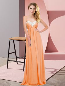 Sleeveless Lace Up Floor Length Ruching Graduation Dresses