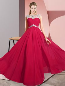 Customized Sleeveless Chiffon Floor Length Clasp Handle Graduation Dresses in Red with Beading