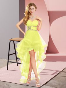 Classical Yellow A-line Sweetheart Sleeveless Tulle High Low Lace Up Beading Graduation Dresses