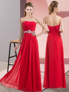 Red Strapless Neckline Beading Graduation Dresses Sleeveless Lace Up