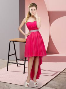 Hot Pink A-line Sweetheart Sleeveless Chiffon High Low Lace Up Beading Graduation Dresses