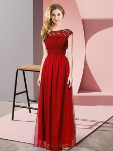 Wine Red Strapless Neckline Lace Graduation Dresses Sleeveless Zipper
