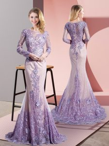 Custom Designed Lavender Mermaid Scoop Long Sleeves Tulle Sweep Train Zipper Beading and Appliques Graduation Dresses