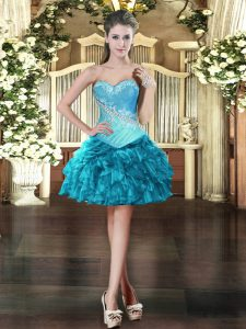 Mini Length Ball Gowns Sleeveless Teal Vestidos de Quinceanera Lace Up