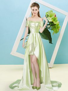 Yellow Green Short Sleeves Elastic Woven Satin and Sequined Lace Up Sweet 16 Dresses for Prom and Party