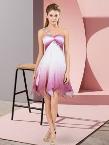 Multi-color Empire One Shoulder Sleeveless Fading Color Asymmetrical Lace Up Beading 15th Birthday Dress