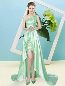 Free and Easy Apple Green Quinceanera Dress Prom and Party with Sequins One Shoulder Sleeveless Lace Up
