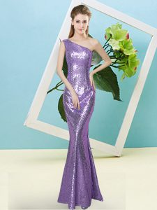 Fashion Lavender Sleeveless Floor Length Sequins Zipper Teens Party Dress