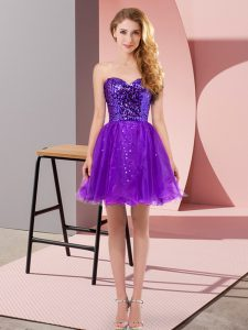 Elegant Purple A-line Sweetheart Sleeveless Tulle Mini Length Zipper Sequins Sweet 16 Dresses