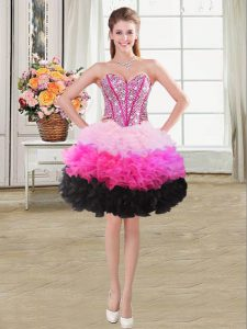 Classical Ball Gowns Teens Party Dress Multi-color Sweetheart Organza Sleeveless Mini Length Lace Up