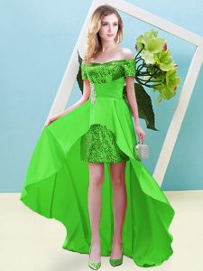 Green Empire Elastic Woven Satin and Sequined Off The Shoulder Short Sleeves Beading High Low Lace Up Sweet 16 Dresses