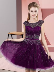 Sumptuous Beading Sweet 16 Quinceanera Dress Dark Purple Backless Sleeveless Knee Length