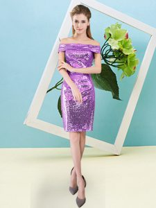Most Popular Lilac Column/Sheath Off The Shoulder Short Sleeves Sequined Mini Length Zipper Sequins Quinceanera Dresses