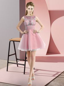 Exceptional Bateau Sleeveless Chiffon Teens Party Dress Beading and Bowknot Zipper