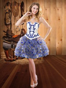 Embroidery Sweet 16 Dresses Multi-color Lace Up Sleeveless Mini Length