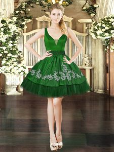 Dark Green Ball Gowns Organza and Taffeta V-neck Sleeveless Beading and Appliques Mini Length Lace Up Teens Party Dress