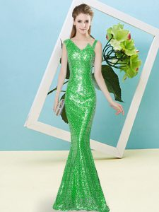 Captivating Mermaid Sweet 16 Dress Green Asymmetric Sequined Sleeveless Floor Length Zipper