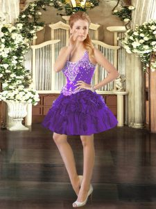 Luxurious Purple Ball Gowns Straps Sleeveless Organza Mini Length Lace Up Beading and Ruffles 15 Quinceanera Dress
