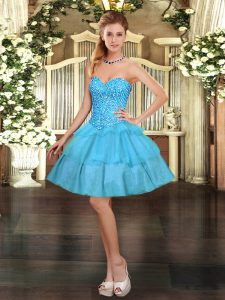 Mini Length Lace Up Teens Party Dress Aqua Blue for Prom and Party with Beading and Ruffled Layers