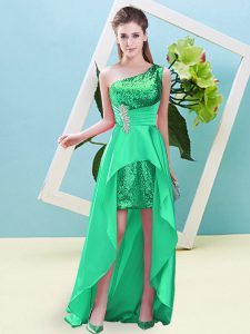 Turquoise Elastic Woven Satin and Sequined Lace Up Quinceanera Dresses Sleeveless High Low Beading and Sequins
