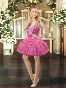 Rose Pink Straps Neckline Beading and Ruffled Layers and Pick Ups Quinceanera Dress Sleeveless Lace Up