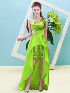 Yellow Green Elastic Woven Satin and Sequined Lace Up One Shoulder Sleeveless High Low Teens Party Dress Beading and Sequins