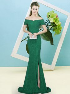 Dark Green Short Sleeves Sequined Sweep Train Zipper Quince Ball Gowns for Prom and Party
