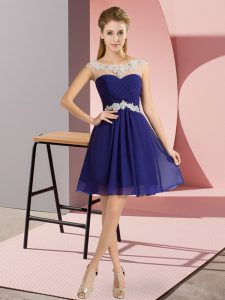 Scoop Cap Sleeves Sweet 16 Quinceanera Dress Mini Length Beading Royal Blue Chiffon