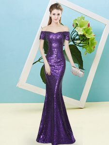 Purple Zipper Sweet 16 Dresses Sequins Short Sleeves Floor Length