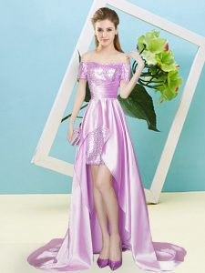 Lilac Short Sleeves Elastic Woven Satin and Sequined Zipper 15th Birthday Dress for Prom and Party