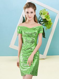 Mini Length Ball Gown Prom Dress Sequined Short Sleeves Sequins